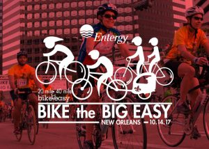 Bike The Big Easy Logo - White logo over red-tinted image of people cycling
