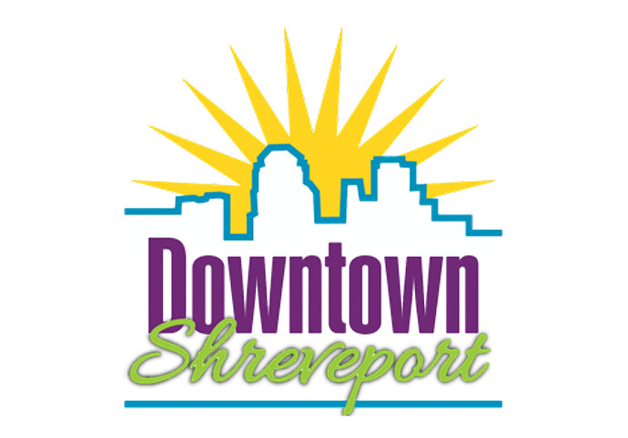 Downtown Shreveport Logo - Yellow Sunburst With Blue City Skyline Outline And Purple And Green Type