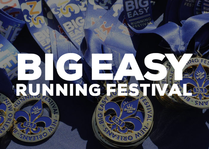 Big Easy Running Festival logo over photo of medals