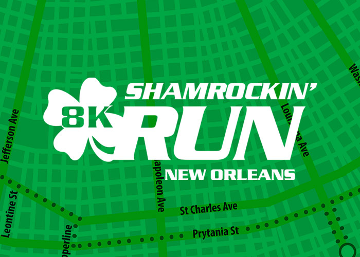 Shamrockin Run New Orleans white logo on green map background